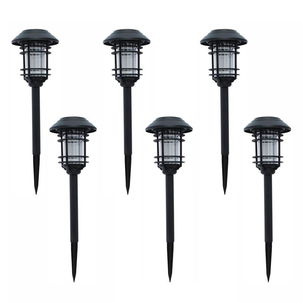 hampton bay solar black outdoor integrated led landscape on Outdoor Solar Lights For Sale id=26354