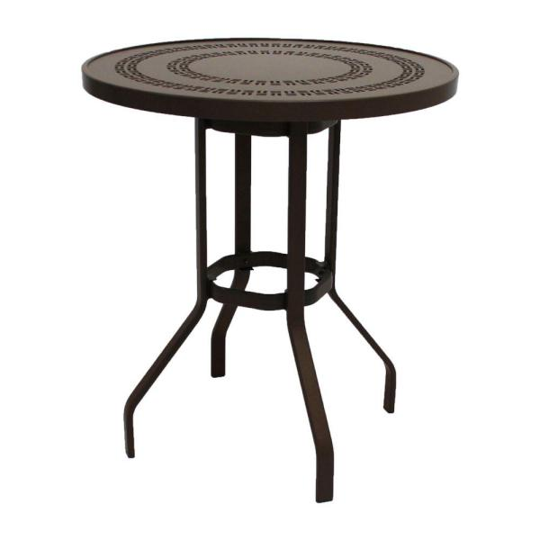 outdoor patio bar height tables Marco Island 36 in. Dark Cafe Brown Round Commercial