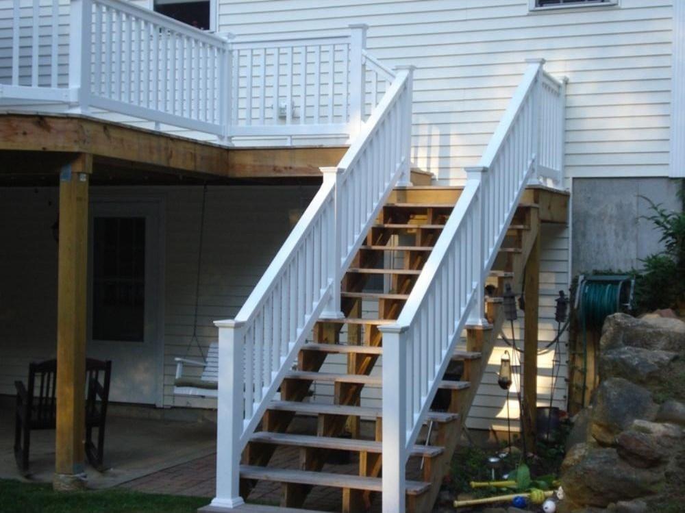 Weatherables Vanderbilt 3 Ft H X 8 Ft W White Vinyl Stair   Vinyl Railing For Steps   Plastic   Leadvision   Exterior   2 Step   Front Door