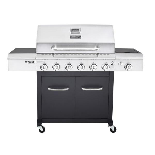 Cast Iron   Propane Grills   Gas Grills   The Home Depot Deluxe 6 Burner Propane Gas Grill in Black with Side Burner