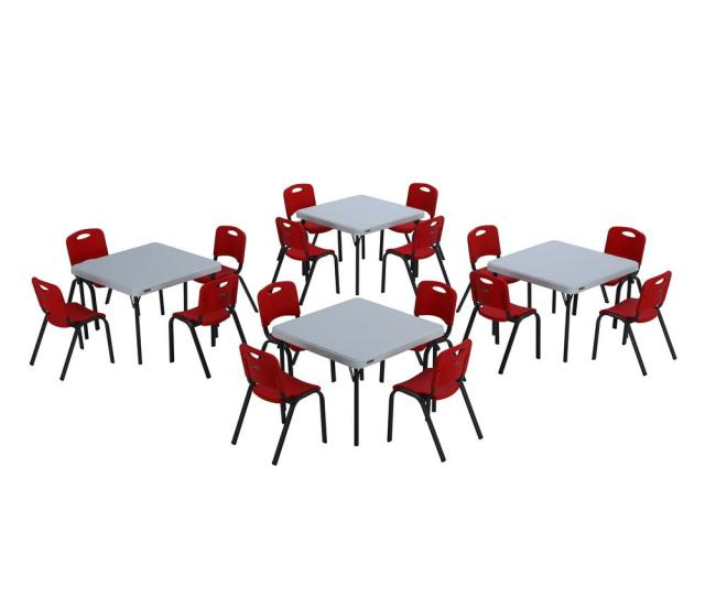 Lifetime 20 Piece Red And White Childrens Table And Chair Set
