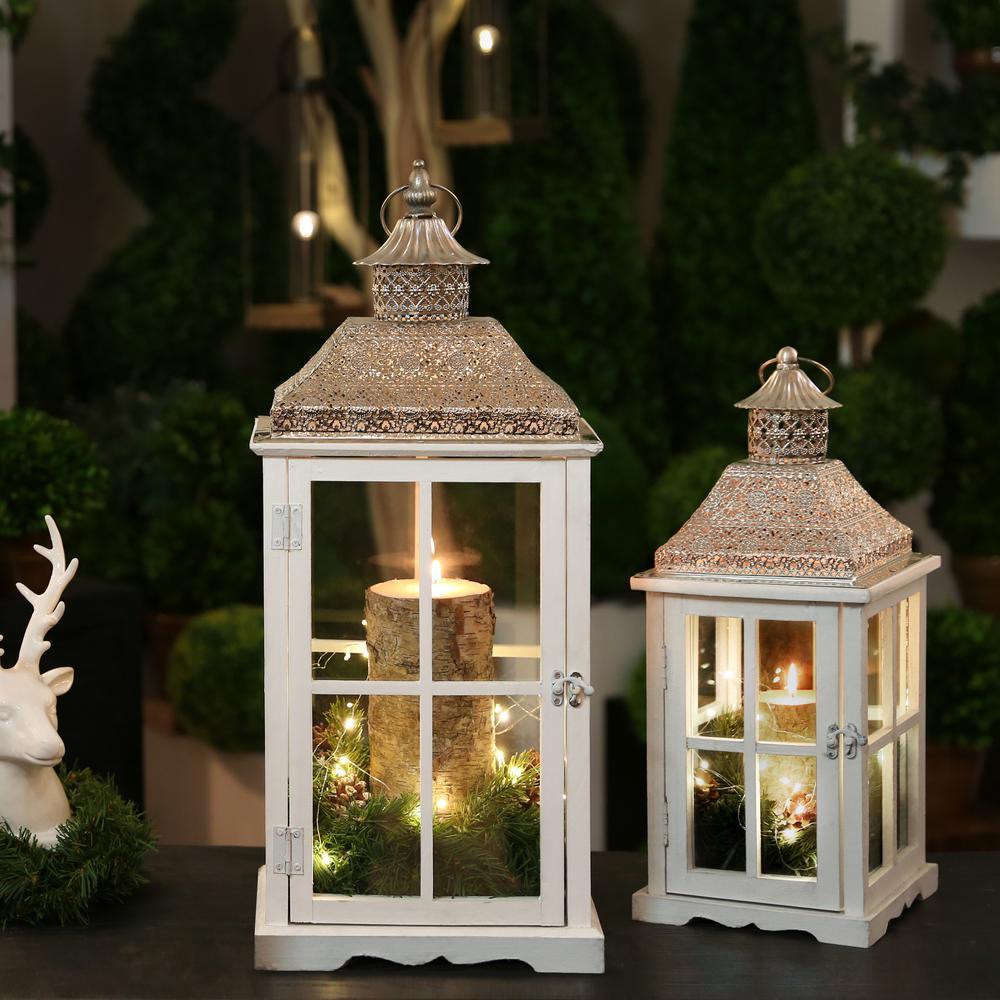 White Candle Wooden Decorative Lantern