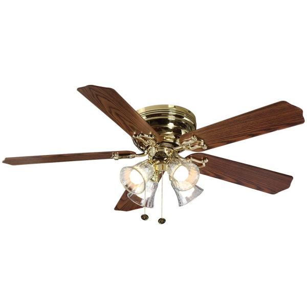 Hampton Bay Carriage House 52 in  LED Indoor Polished Brass Ceiling     LED Indoor Polished Brass Ceiling Fan with Light Kit 46008   The Home Depot