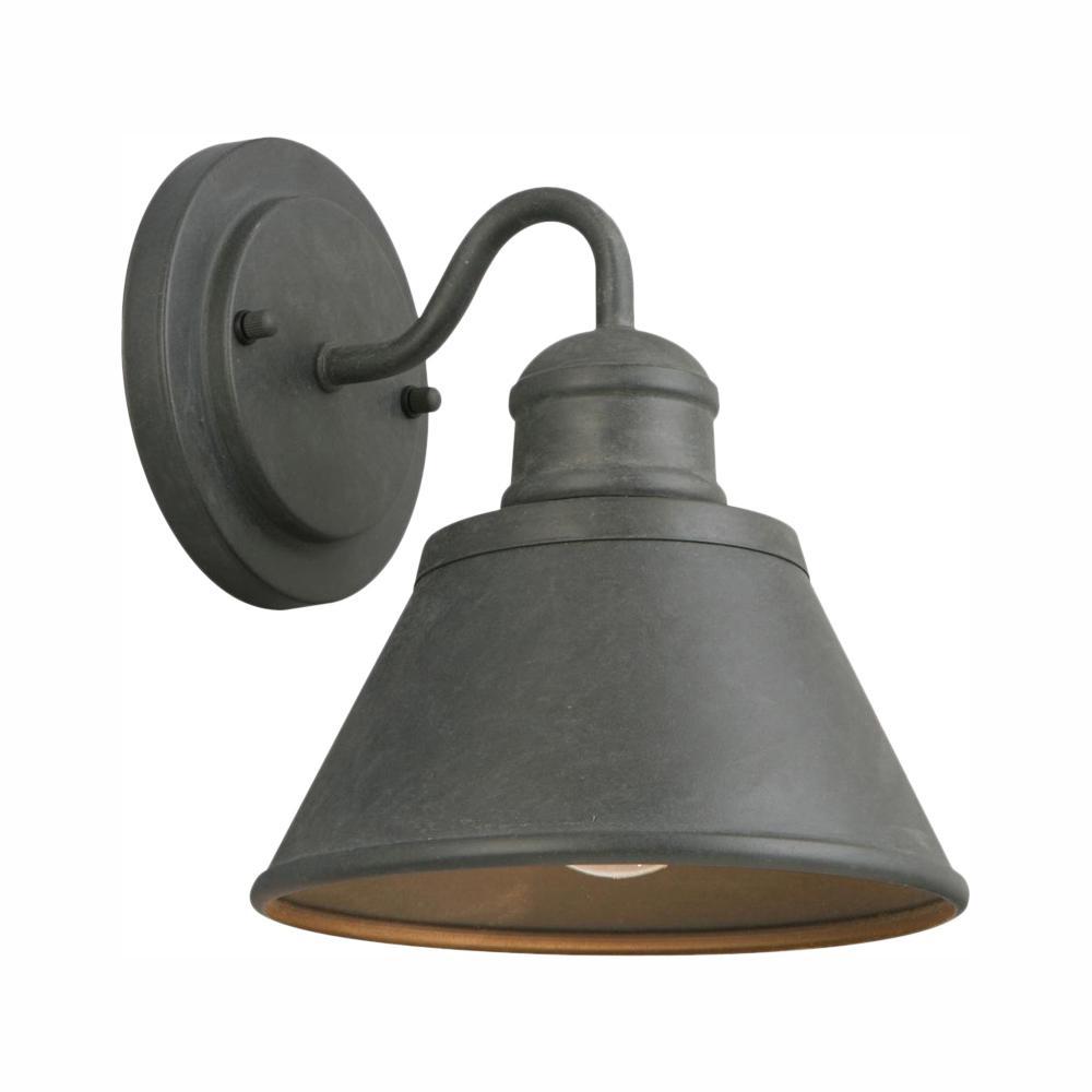 Hampton Bay 1-Light Zinc Outdoor Wall Barn Light Sconce ... on Sconce Outdoor Lighting id=94226