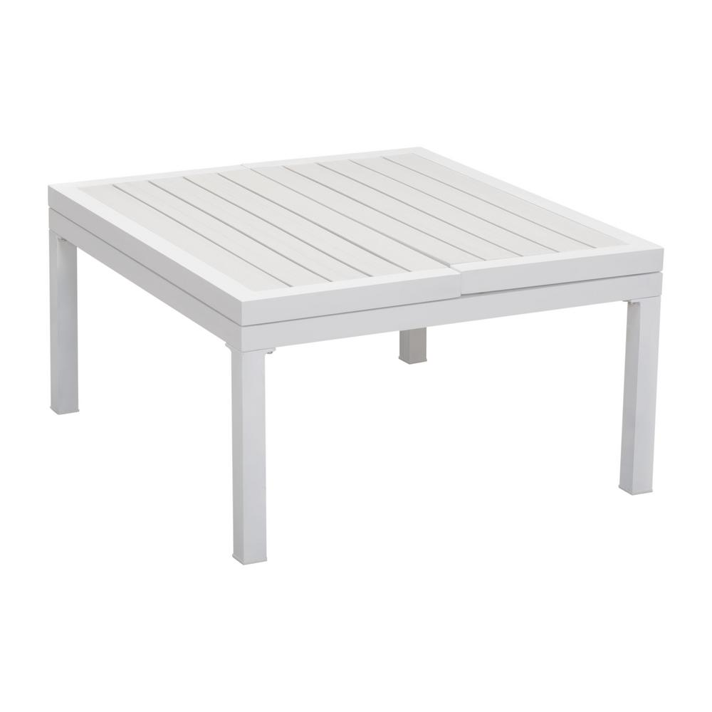 zuo santorini white aluminum outdoor coffee table 703893 the home depot