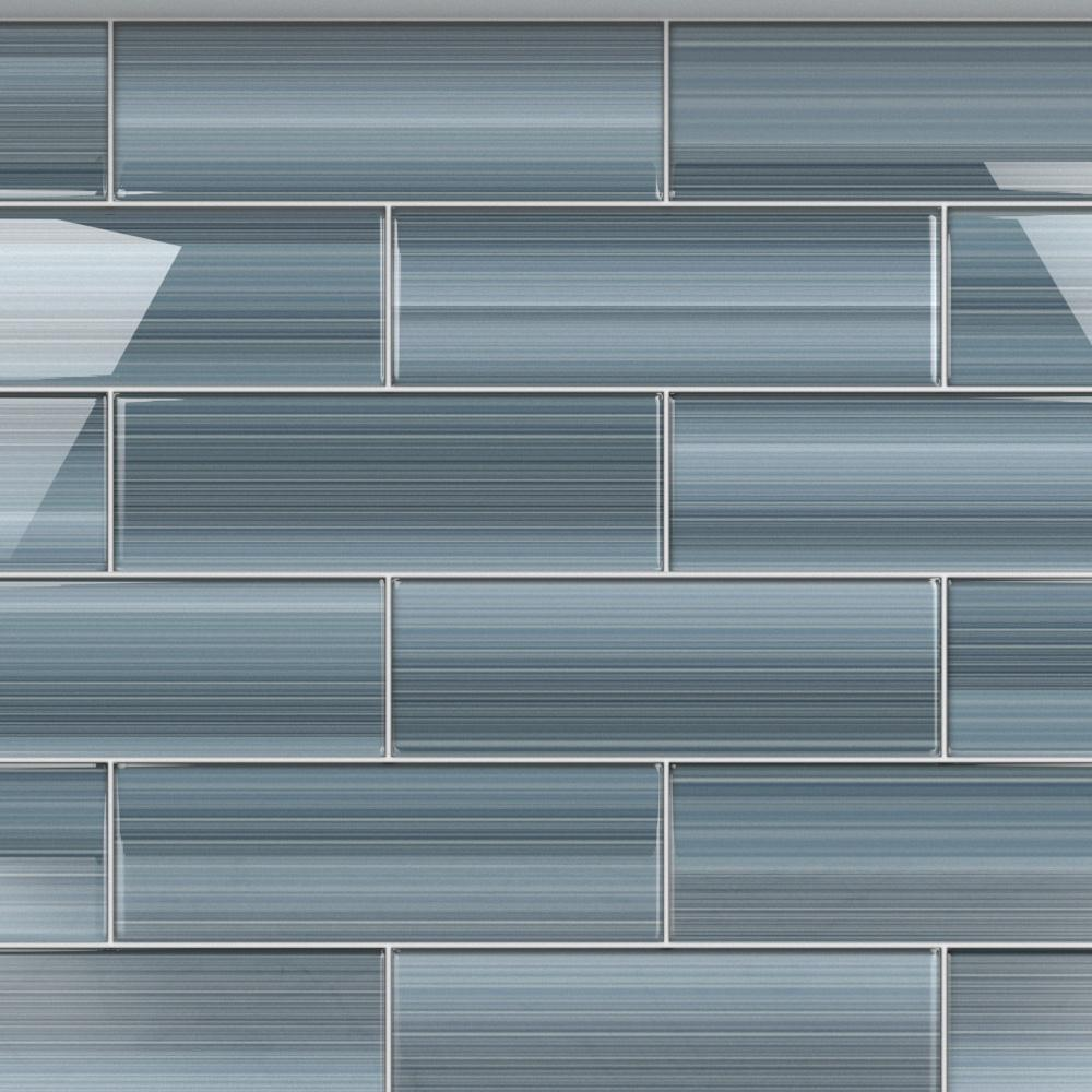 Bodesi Deep Ocean 4 In X 12 In Glass Tile For Kitchen Backsplash And Showers 10 Sq Ft Per Box Hpt Do 4x12 The Home Depot