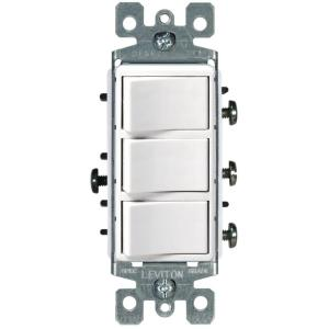 Leviton Decora 15 Amp 3Rocker Combination Switch, White