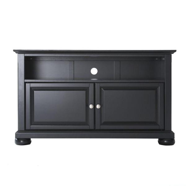 alexandria 42 in black wood tv stand fits tvs up to 44 in with storage doors