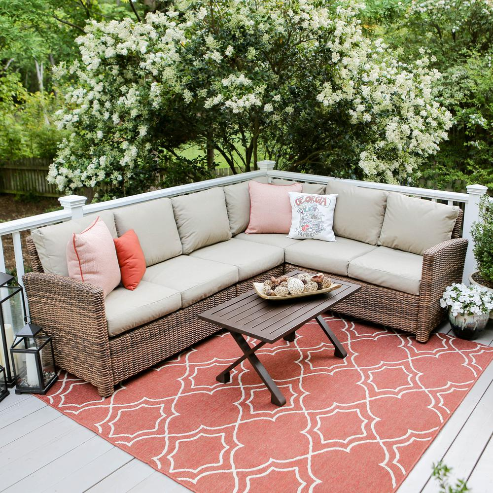 Leisure Made Dalton 5-Piece Wicker Outdoor Sectional Set ... on 5 Piece Sectional Patio Set id=95415