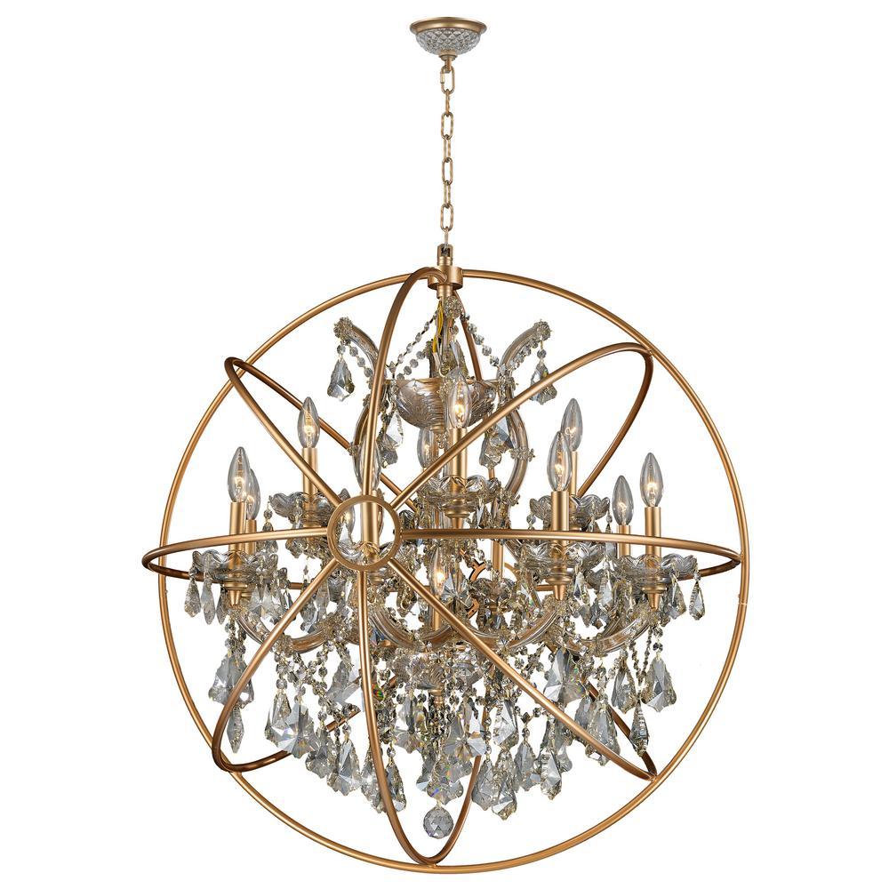 Worldwide Lighting Armillary 13 Light Gold Crystal