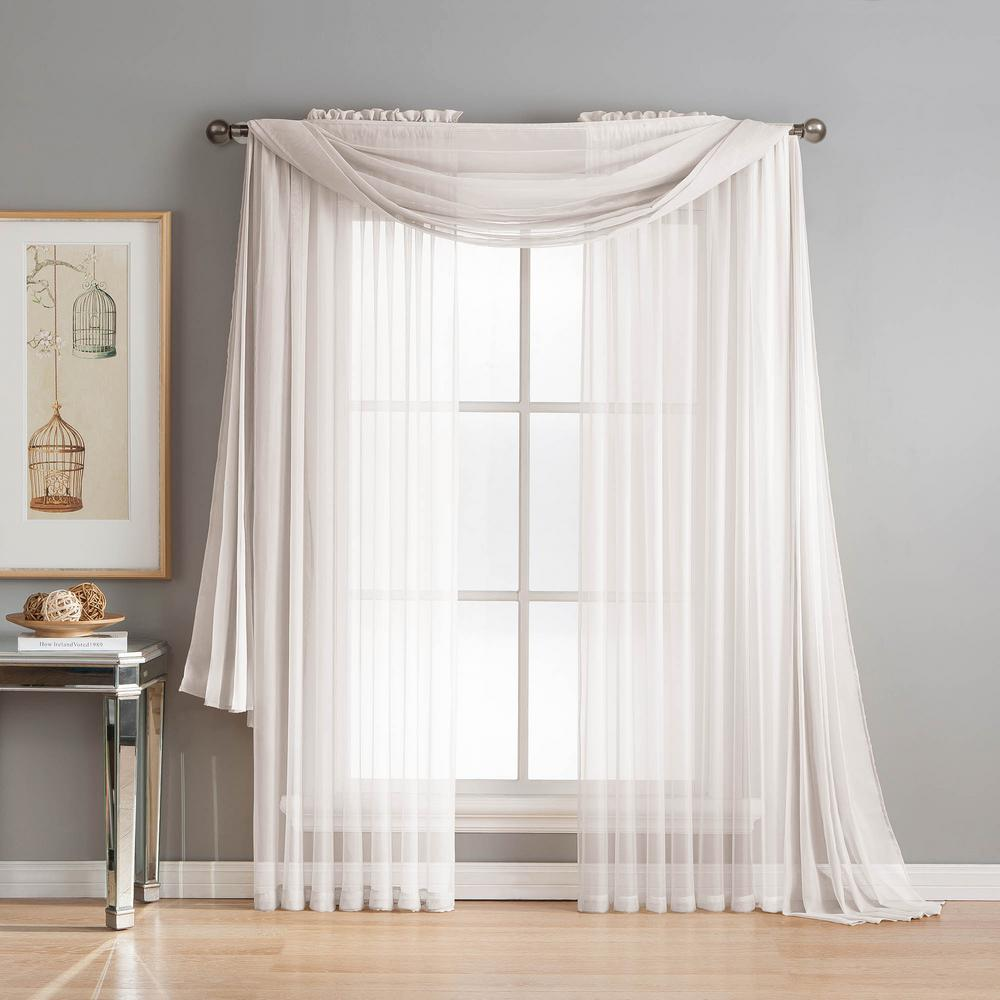 Window Elements Diamond Sheer Voile 56 In W X 216 In L Curtain Scarf In White YMC003042 The