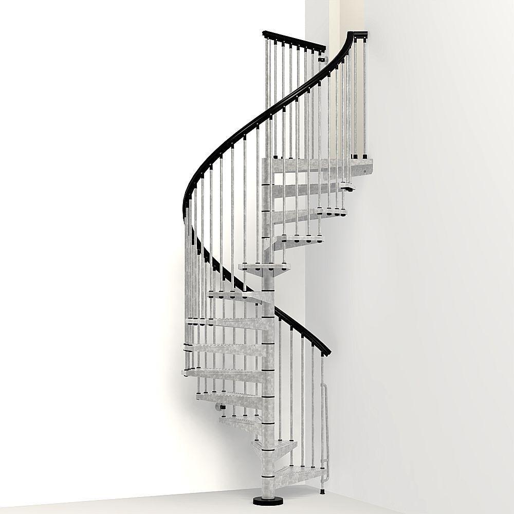 Arke Enduro 55 In Galvanized Steel Spiral Staircase Kit K05002   Spiral Staircase Home Depot   Steel   90 Degree   Alternating Tread   Outdoor   Small Metal