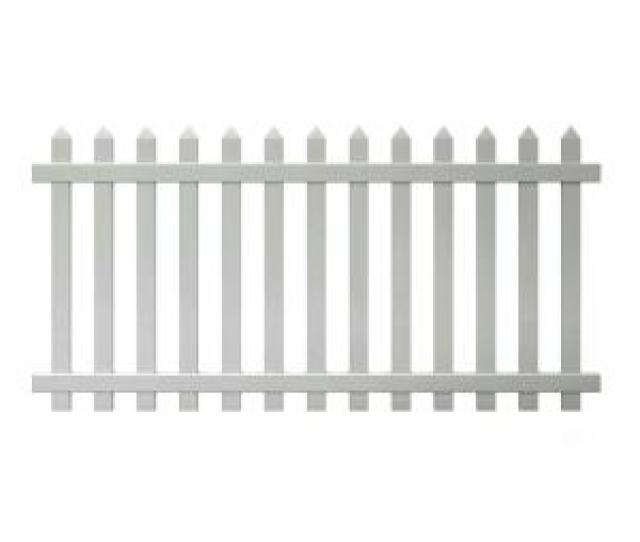 W White Vinyl Spaced Picket Fence Panel