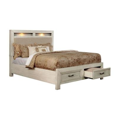 bed frame mounted storage lighted
