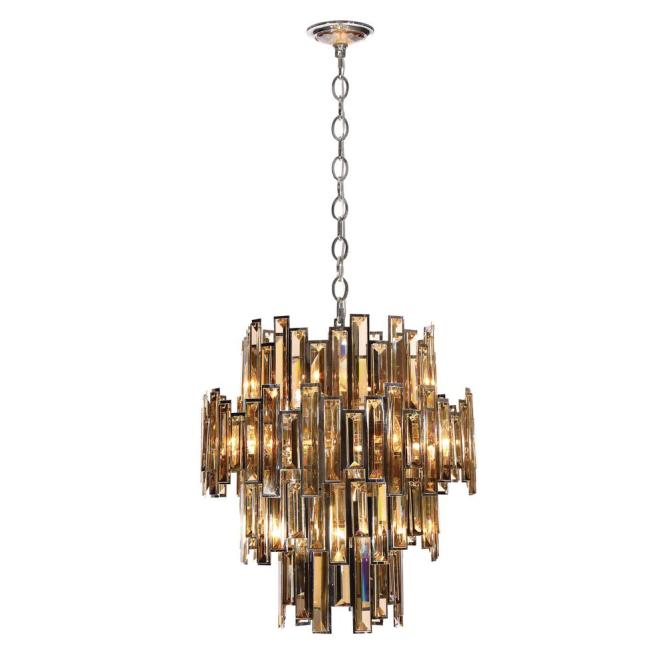 Eurofase Vienna Collection 12 Light Chrome Chandelier With Crystal Shade