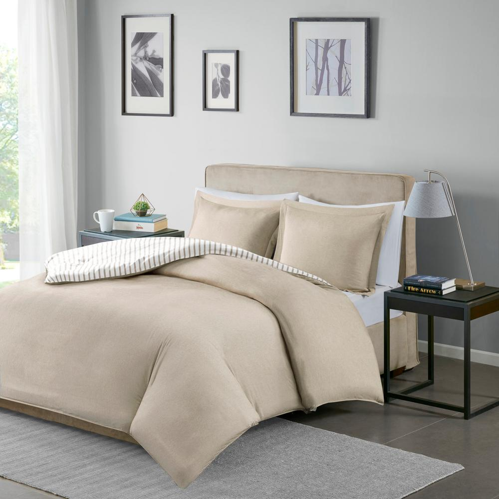 unbranded braydon 3 piece tan king cal king reversible yarn dyed stripe duvet cover set mpe12 832 the home depot