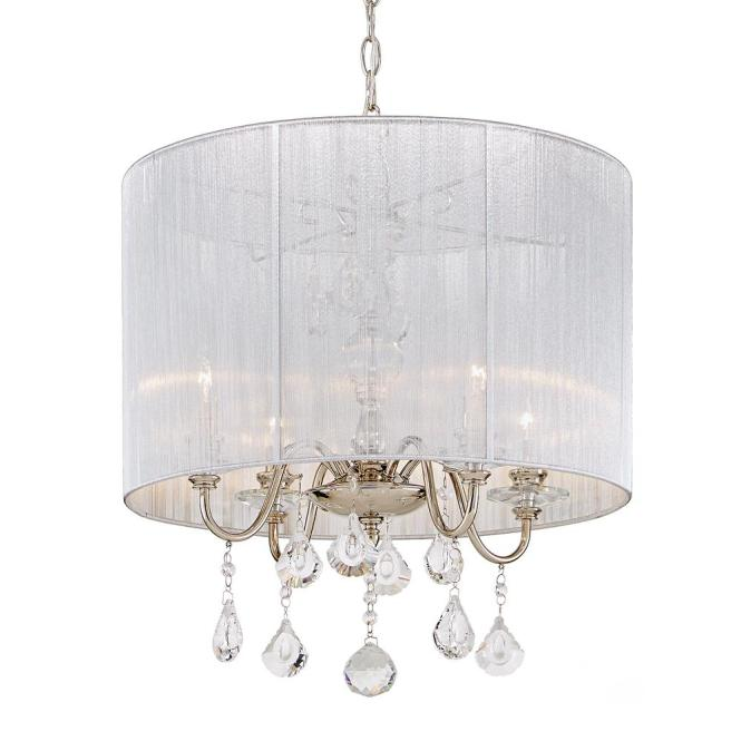 Fifth And Main Lighting 4 Light Polished Nickel Pendant With Silver String Shade