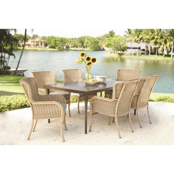 7 piece outdoor wicker patio dining sets Hampton Bay Lemon Grove 7-Piece Wicker Outdoor Dining Set