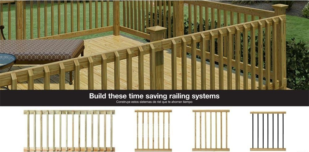 Weathershield 42 In X 2 In Pressure Treated Beveled 1 End   Banister Railing Home Depot   3 Step   Build In   Entry   Beginner   Round