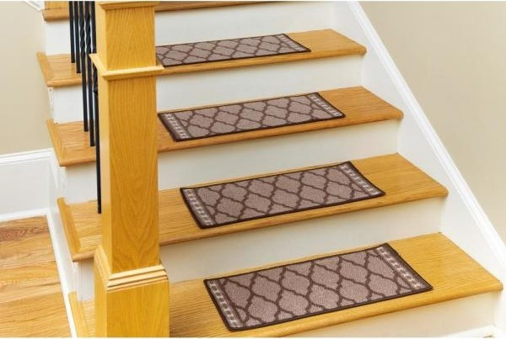 Nance Carpet And Rug Non Slip Mosaic Brown 9 In X 27 In Nylon   Home Depot Oak Stair Treads   Vinyl Plank Flooring   Vinyl Flooring   Wood   Unfinished Pine   Laminate Flooring