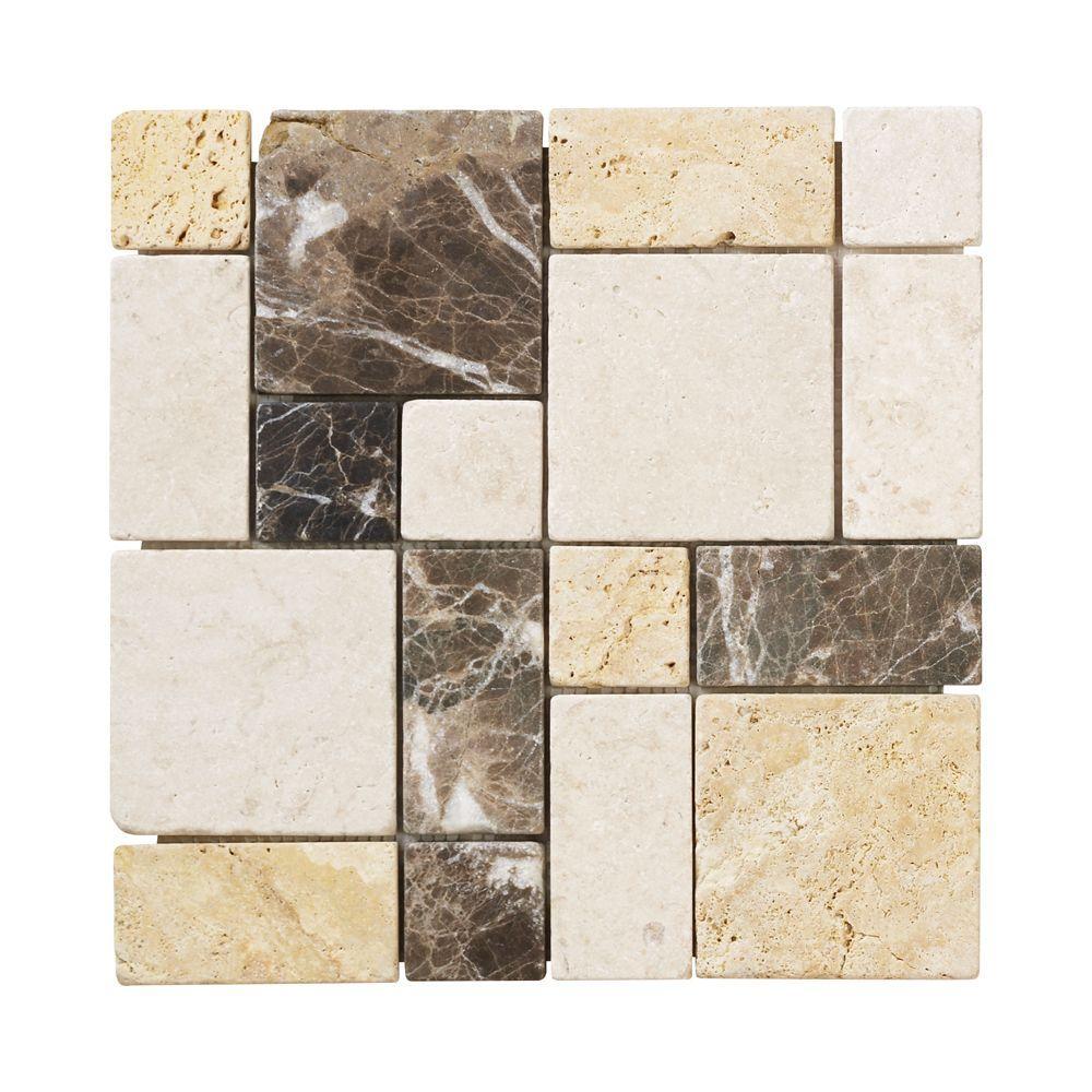 brick medley 12 in x 12 in x 9 mm travertine mosaic floor wall tile 99036 202273477
