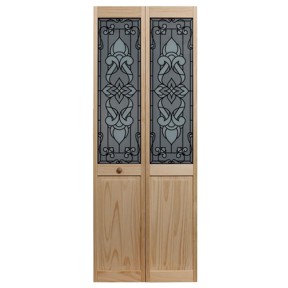 pinecroft 30 in x 80 in bistro glass raised panel on Pinecroft 30 In X 80 In Unfinshed Pine Wood 2 Panel Square id=25529