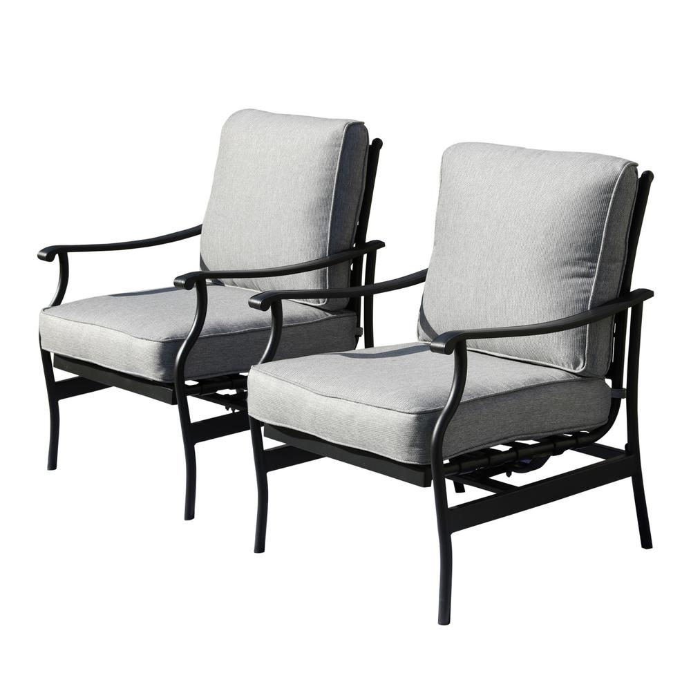 Patio Festival Metal Outdoor Rocking Chair With Beige Cushions 2 Pack Pf19104 W The Home Depot