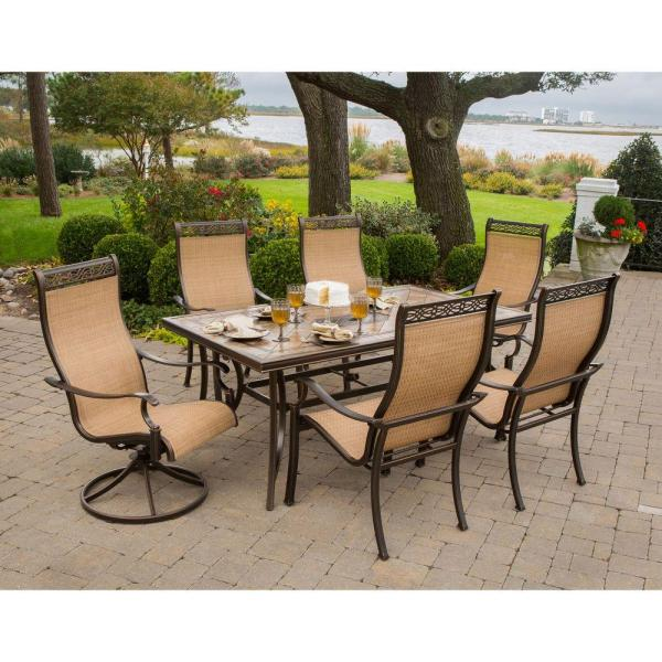 outdoor patio 7 piece dining set Hanover Monaco 7-Piece Outdoor Patio Dining Set
