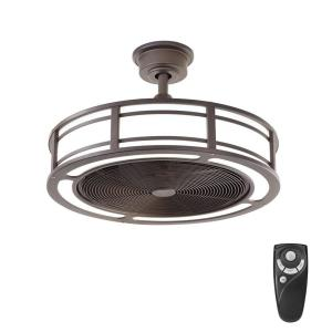 Home Decorators Collection Brette 23 in  LED Indoor Outdoor Brushed     LED Indoor Outdoor Espresso Bronze Ceiling Fan with Light Kit with