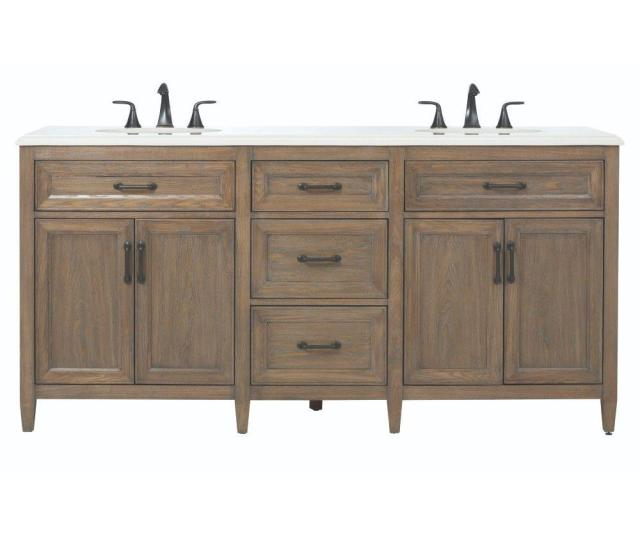 D Double Bath Vanity In Driftwood Grey With Engineered Stone Vanity Top In Crystal White