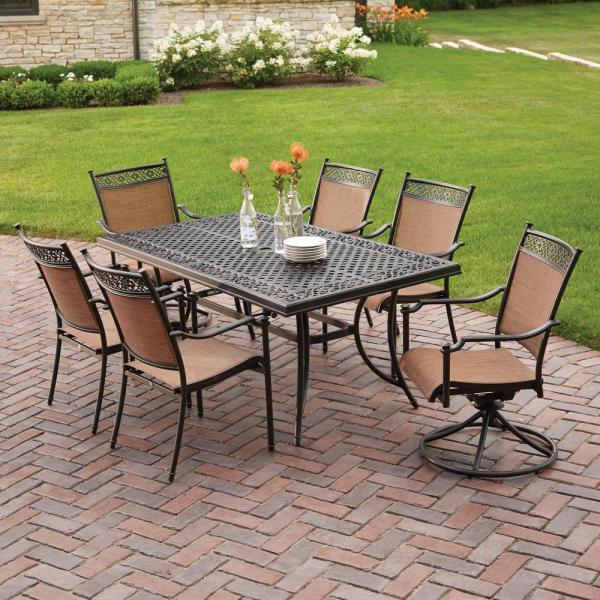 outdoor patio 7 piece dining set Hampton Bay Niles Park 7-Piece Sling Patio Dining Set-S7