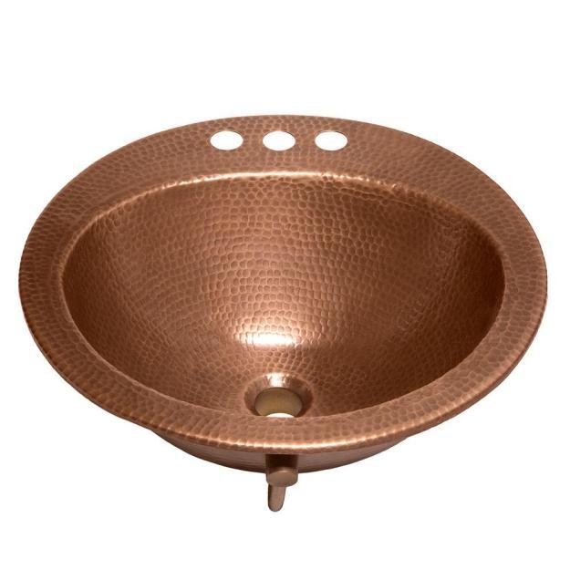 sinkology bell drop-in handmade copper bathroom sink with 4 in