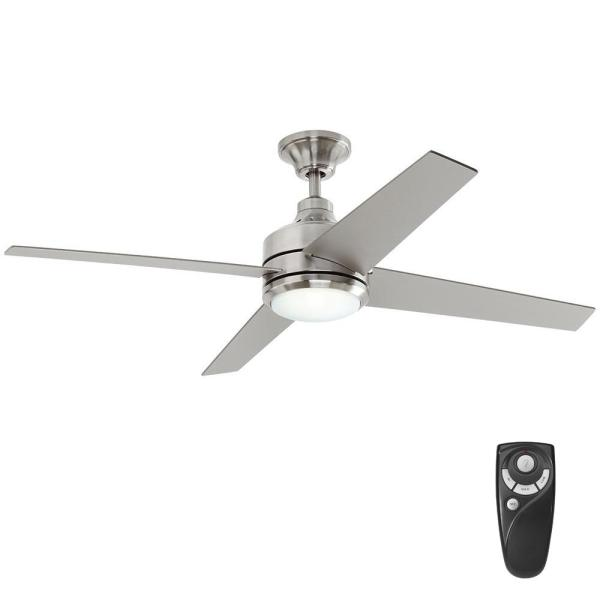 Home Decorators Collection Mercer 52 in  LED Indoor Brushed Nickel     Home Decorators Collection Mercer 52 in  LED Indoor Brushed Nickel Ceiling  Fan with Light Kit