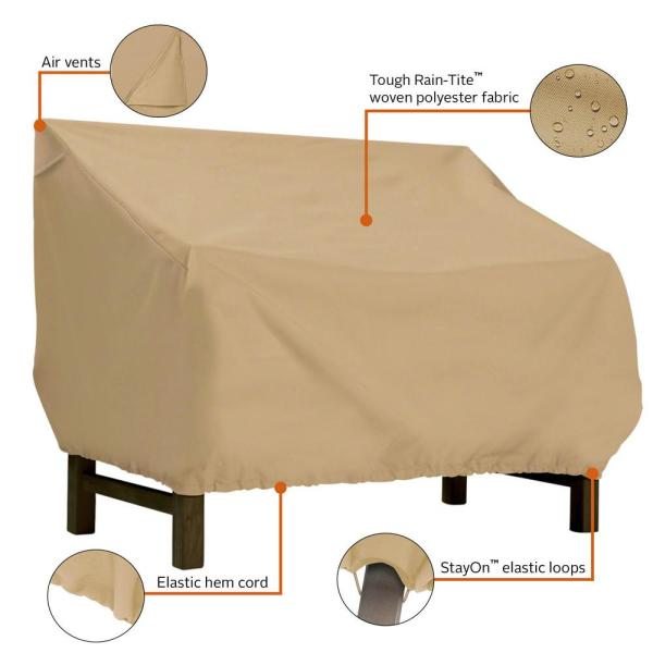Classic Accessories Terrazzo Small Patio Bench Seat Cover All Weather Protection Outdoor Furniture Cover 55 914 022001 Ec The Home Depot