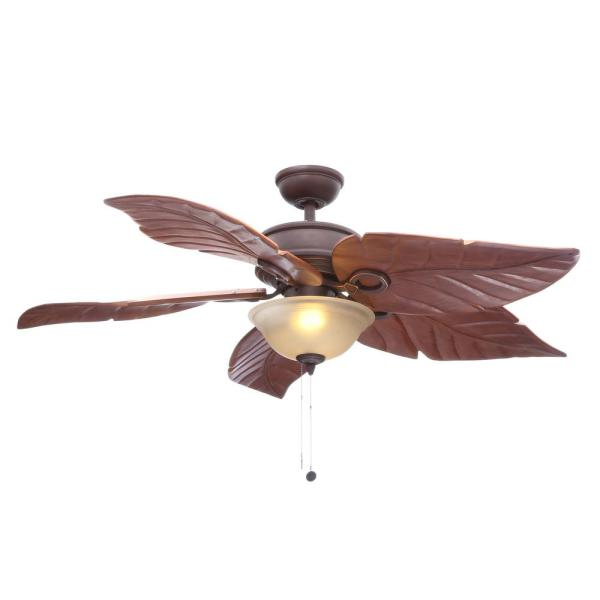 Hampton Bay Costa Mesa 56 in  LED Indoor Outdoor Mediterranean     LED Indoor Outdoor Mediterranean Bronze Ceiling Fan with