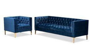 Baxton Studio Zanetta 2 Piece Royal Blue And Gold Living