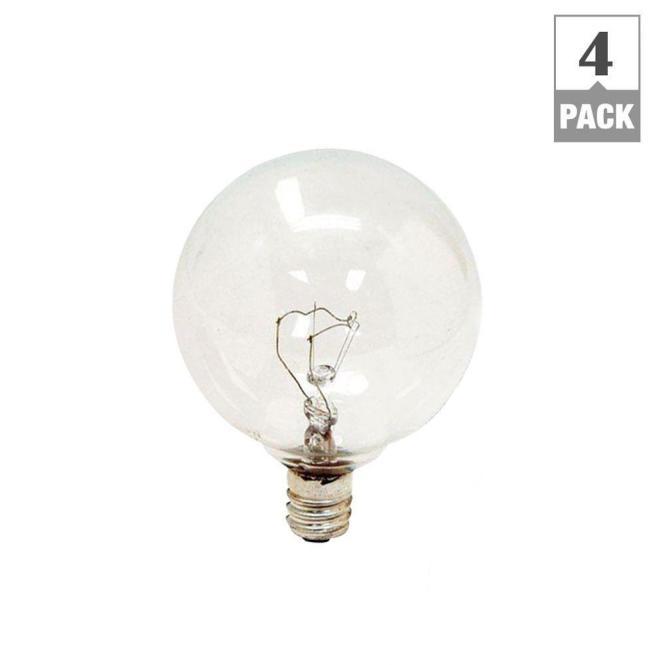Ge 25 Watt Incandescent G16 5 Globe Candelabra Base Clear Light Bulb 4