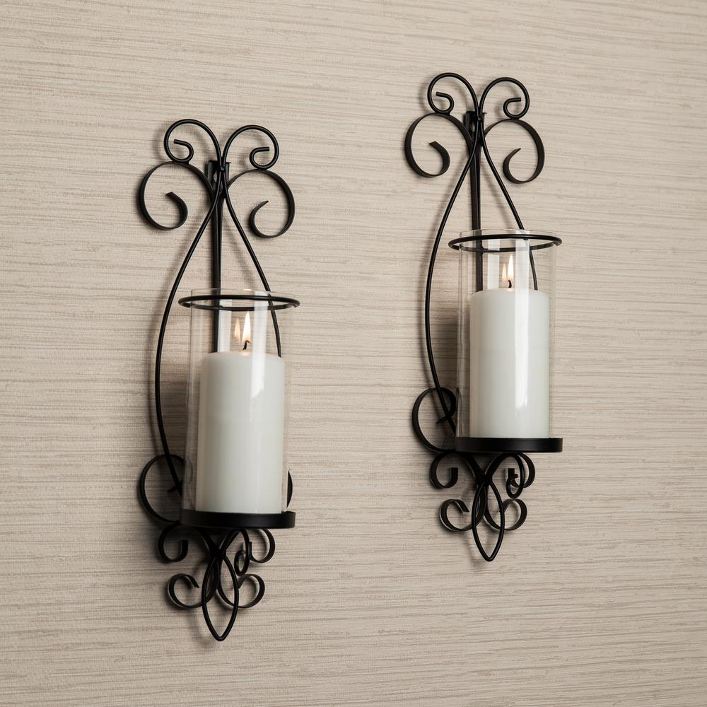 DANYA B San Remo Black Candle Wall Sconce (Set of 2)-KF632 ... on Wall Sconces Candle Holders id=58222
