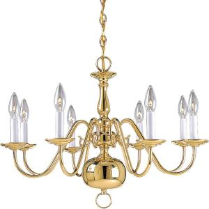 Progress Lighting Americana Collection 8 Light Polished Brass Chandelier P4357 10 The Home Depot