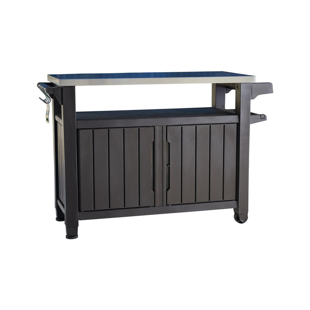 Keter Unity XL 78 Gal. Grill Serving Prep Station Cart ... on Patio Grill Station id=66904