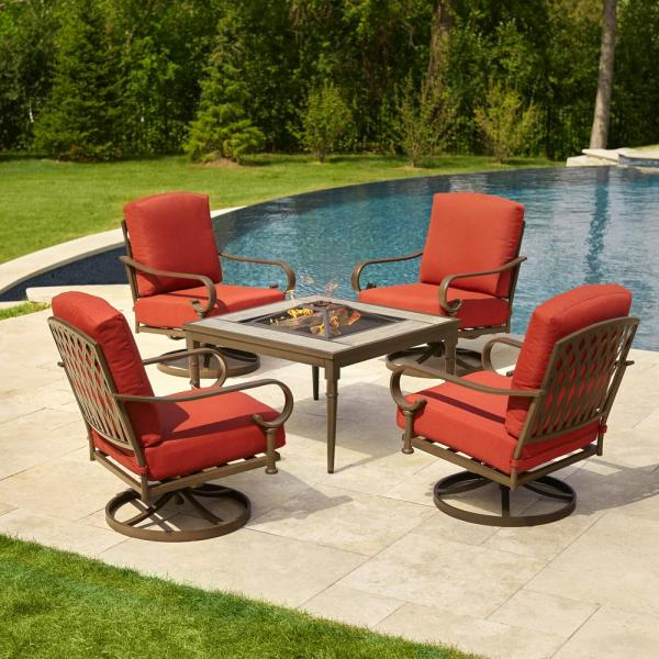 outdoor patio furniture with fire pit Hampton Bay Oak Cliff 5-Piece Metal Patio Fire Pit