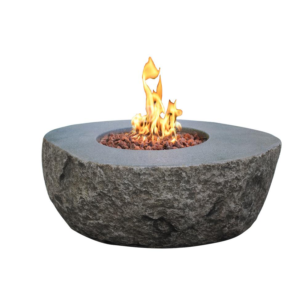 Elementi Boulder 35 In X 16 In Round Concrete Propane Fire Pit Table With Burner And Lava Rock