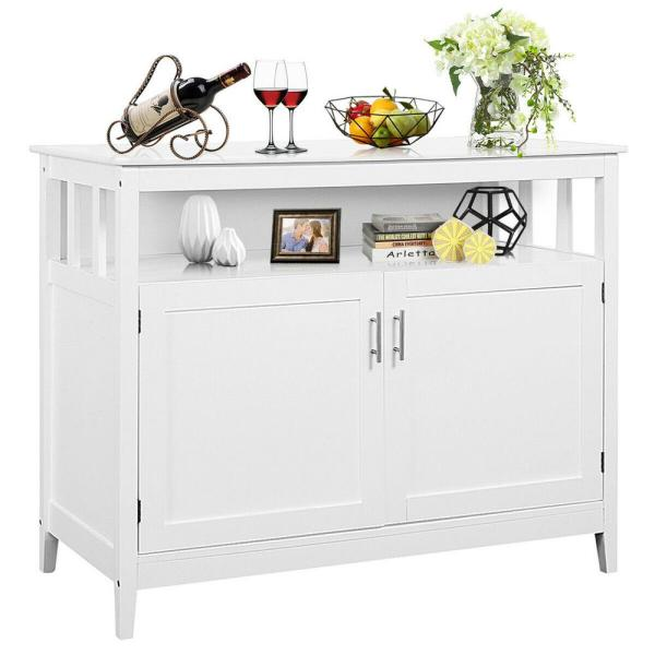 Costway Modern Kitchen Storage Cabinet Buffet Server Table Sideboard Dining Wood White Hw53869wh The Home Depot