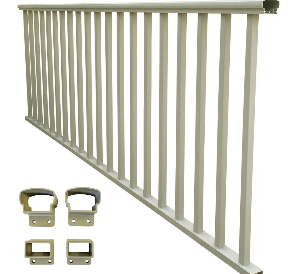 Ez Handrail 8 Ft X 36 In Clay Aluminum Baluster Railing Ez8Rdt | Home Depot Handrails For Outdoor Steps | Wrought Iron Stair | Pressure Treated | Porch Railings | Metal | Railing Ideas