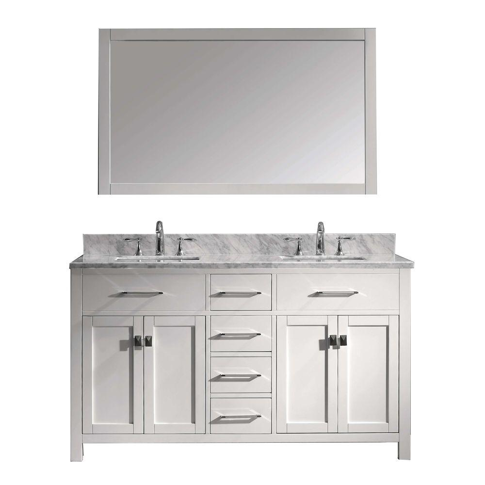 virtu usa caroline 60 in. w x 36 in. h vanity with marble vanity