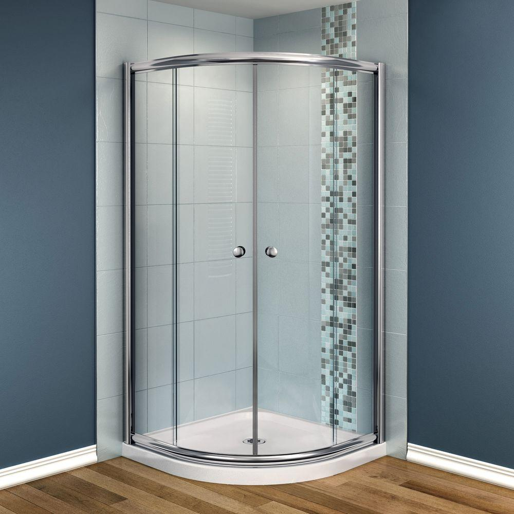 ₩Talen 40 in. x 40 in. x 73 in. Neo-Round Shower Kit in Chrome with ...