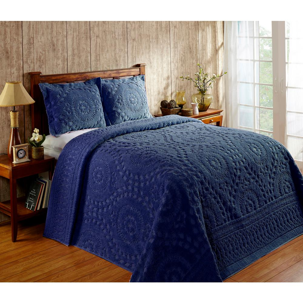 better trends rio collection in floral design navy king 100 cotton tufted chenille bedspread ss bsrkinv the home depot