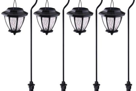Hampton Bay Solar Matte Black Outdoor Integrated LED Shepard Hook     Hampton Bay Solar Matte Black Outdoor Integrated LED Shepard Hook Landscape  Path Light with Hammered Glass