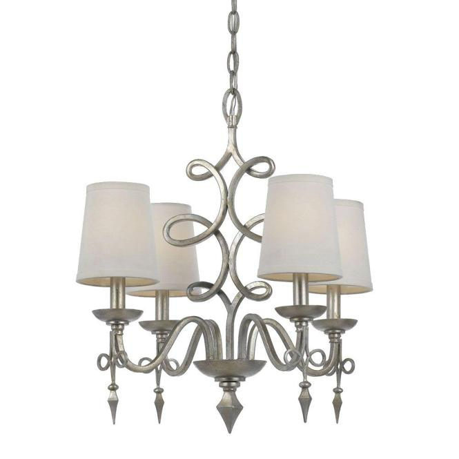 Af Lighting Rhythm 4 Light Silver Glint Mini Chandelier With White Shade