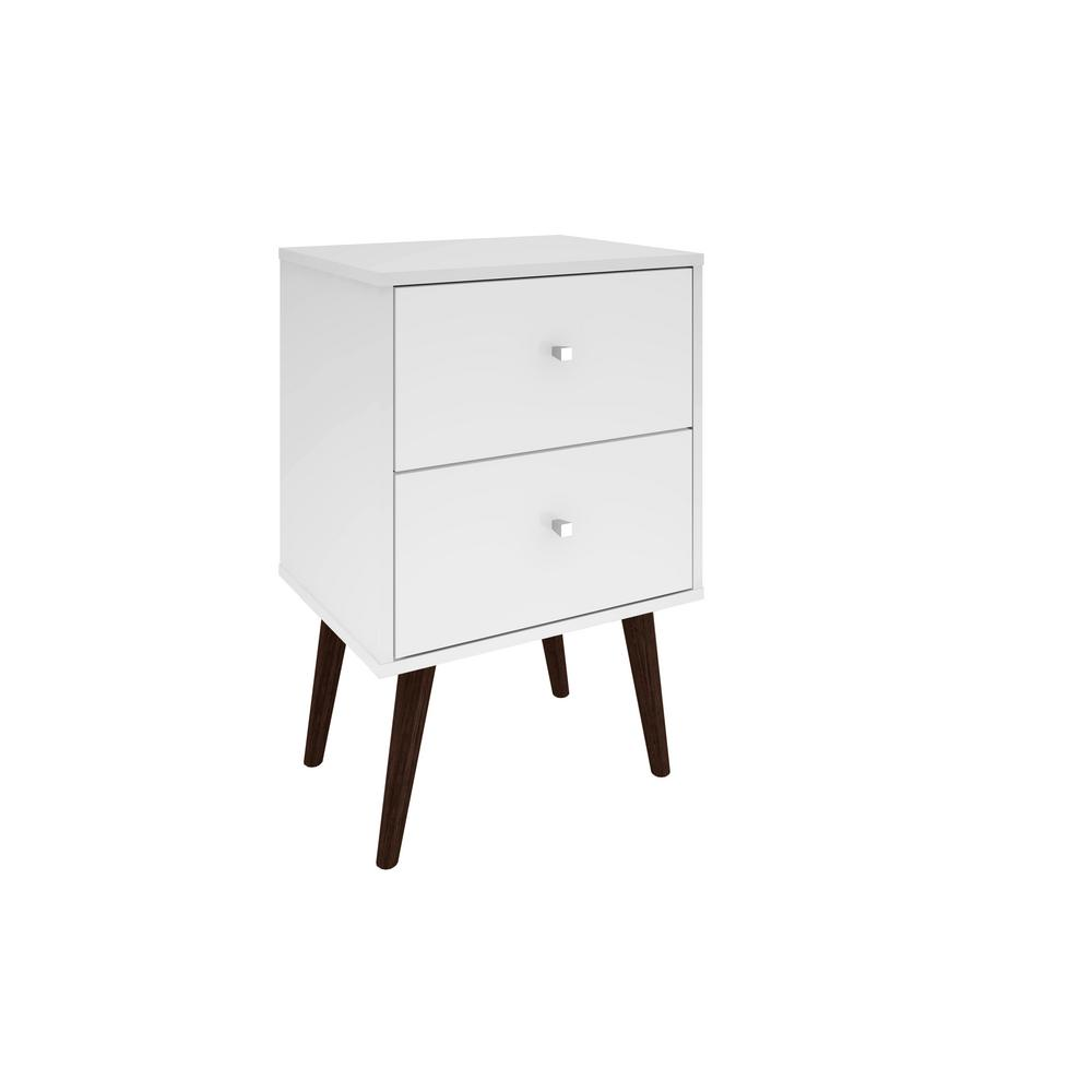 manhattan comfort liberty mid century white modern nightstand 2 0 with 2 full extension drawers with solid wood legs 204amc6 the home depot